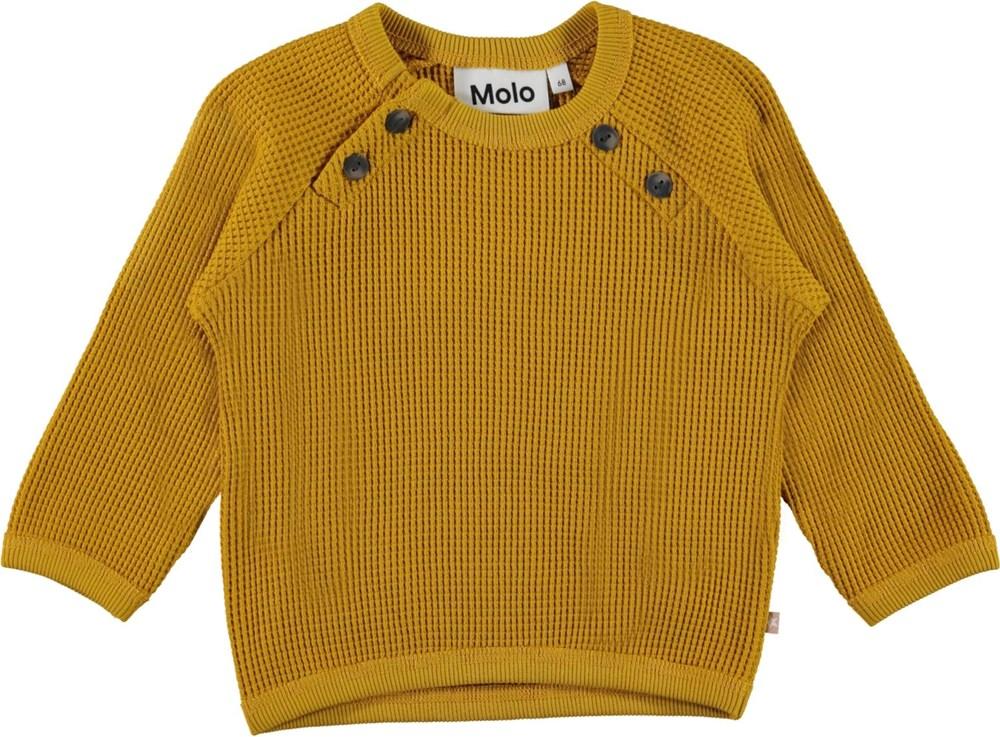 Dolly - Nugget Gold - Gylden vaflet økologisk bomulds bluse
