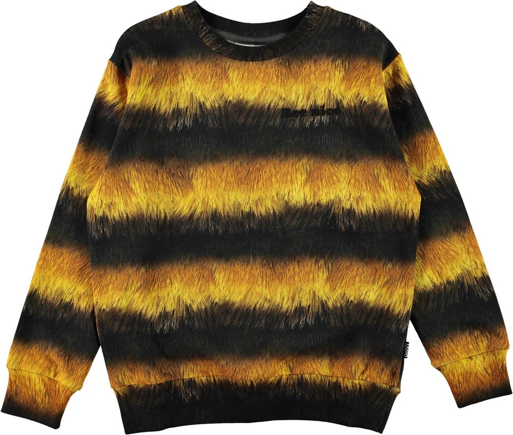 Mik - Bee - Økologisk sort og gul bi sweatshirt