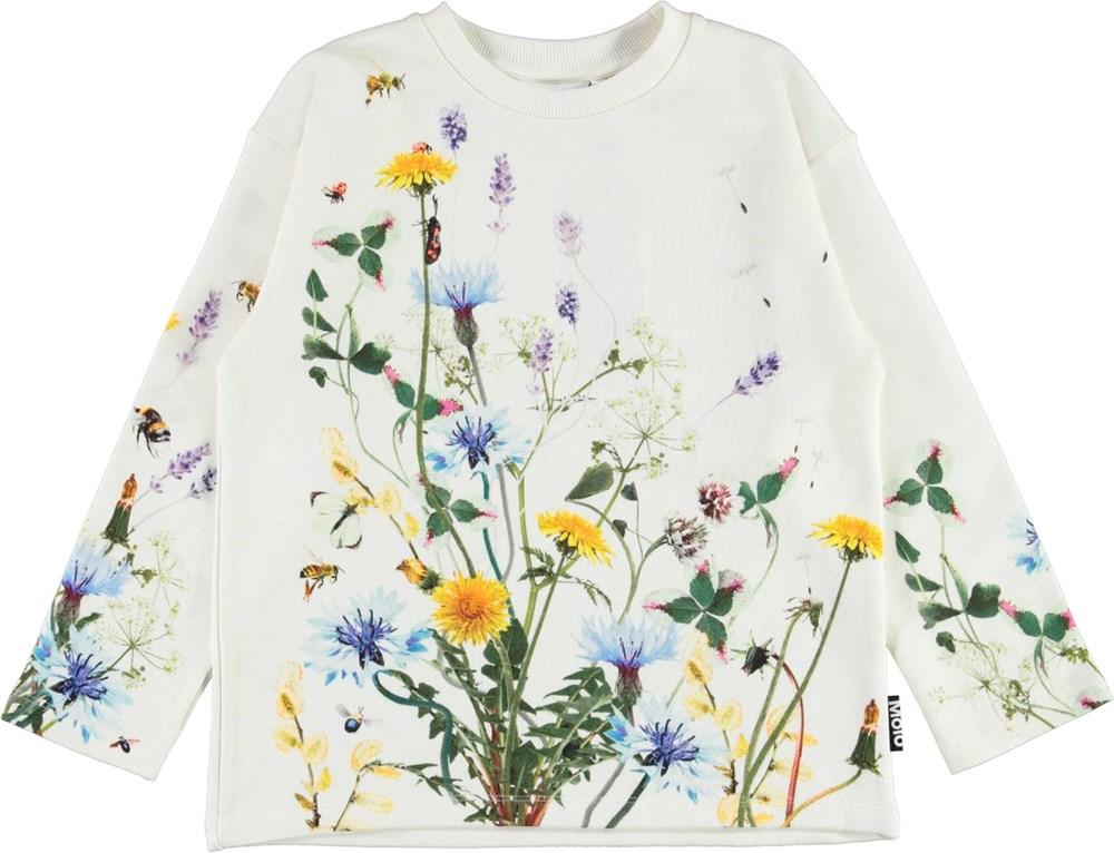 Mountoo - Pollen - Økologisk hvid bluse med blomster og insekter