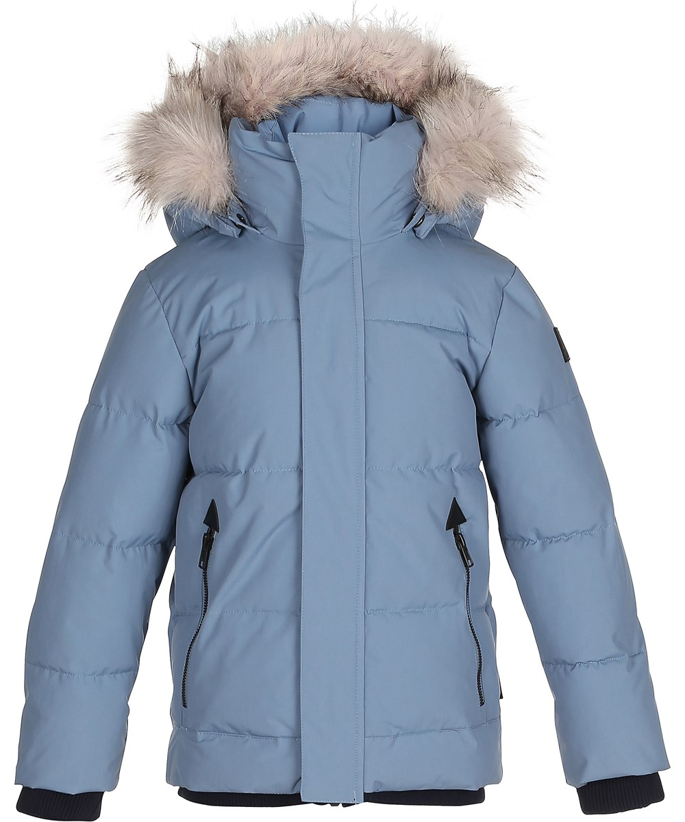 Lange Blauwe Winterjas.Herbert Bluestone Blauwe Lange Winterjas Met Bonten Details Molo