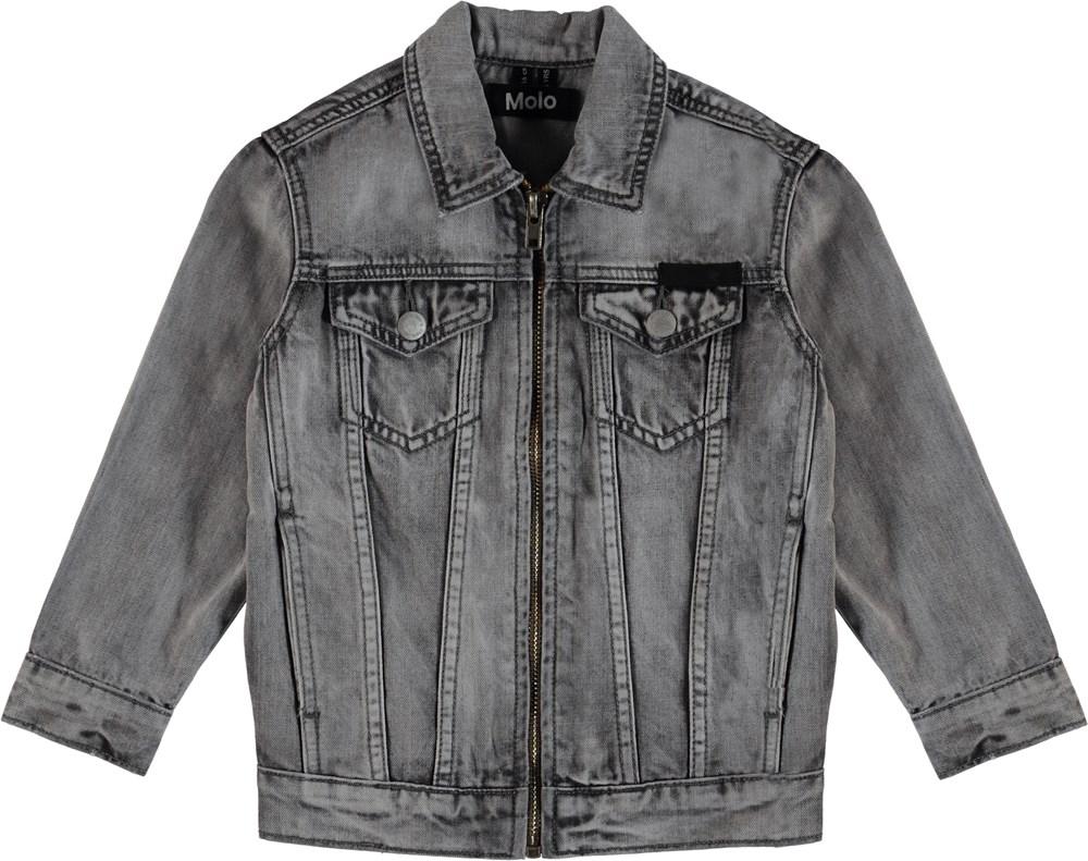 Hansen - Grey Washed Denim - Grey denim jacket with zipper.