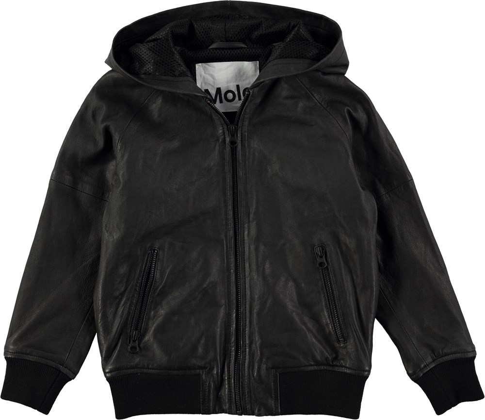 Hector - Black - Black leather jacket in a bomber look with hood