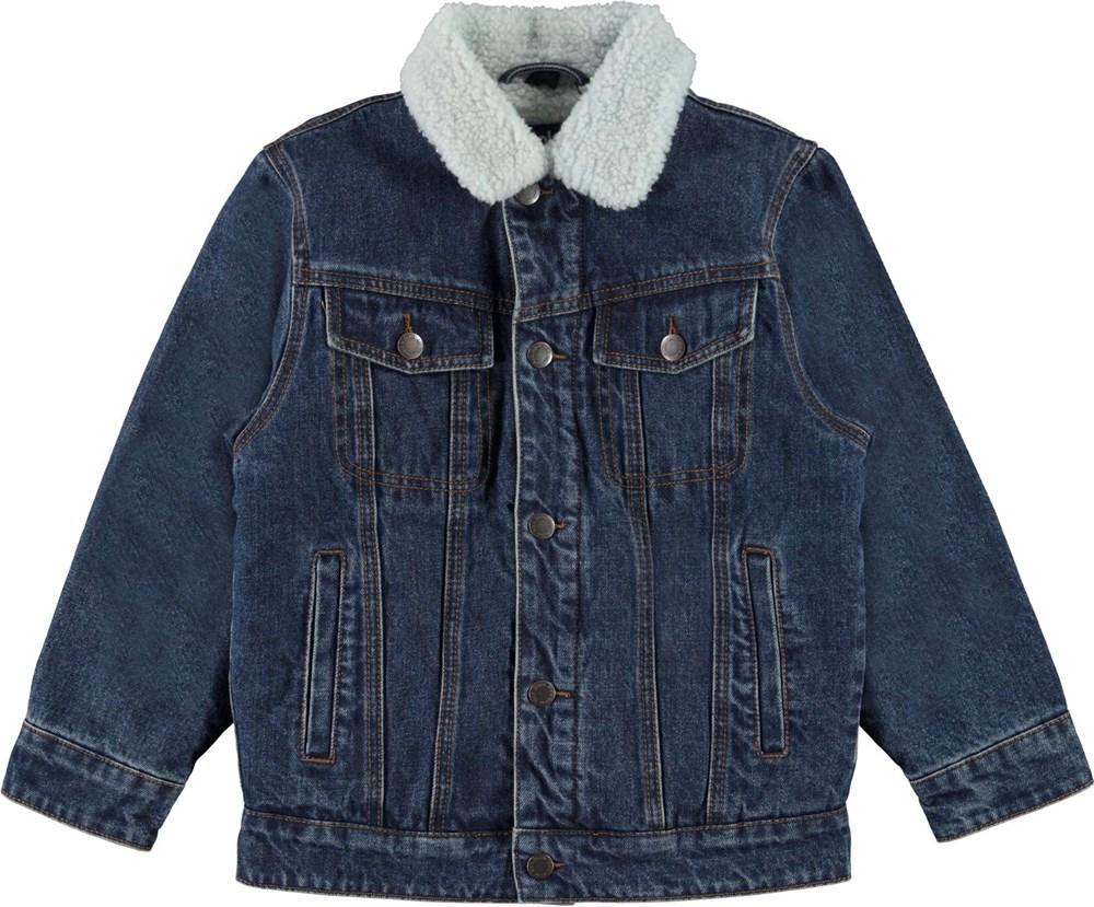 Hen - Dark Indigo - Blue denim jacket with plush lining
