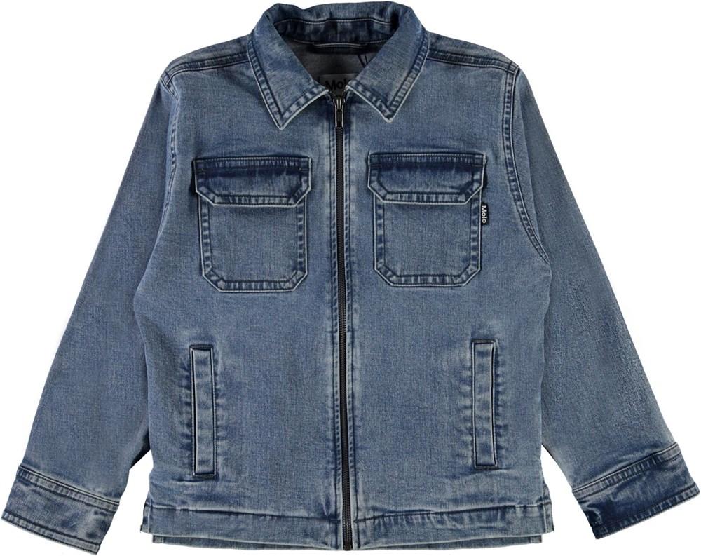 Henrik - Stone Blue - Denim jacket with zipper
