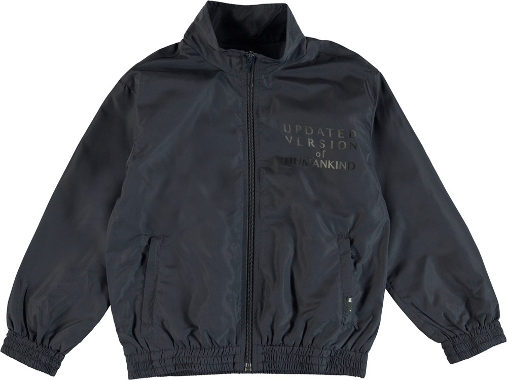Hermoes - Dark Navy - Tracksuit jacket with text on the chest.