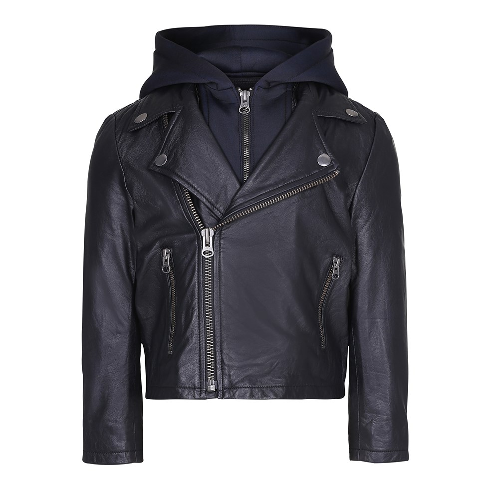 Holtti - Black - Black leather jackets with detachable hood.