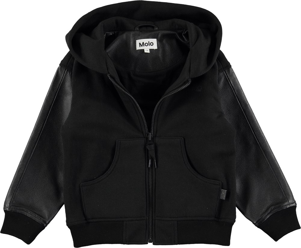 aa61bb10 Hood - Black - Black college jacket with leather sleeves - Molo
