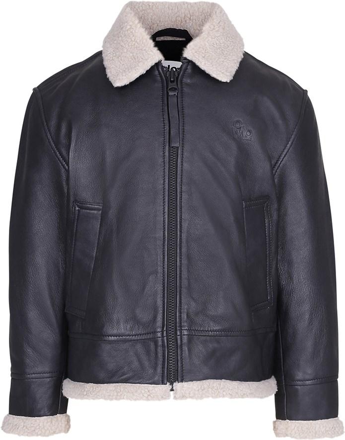 Huugo - Black - Black leather jacket with teddy lining