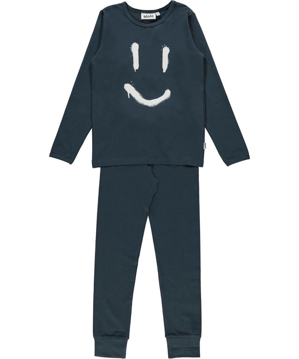 Luve - Summer Night - Blue organic smiley sleepwear