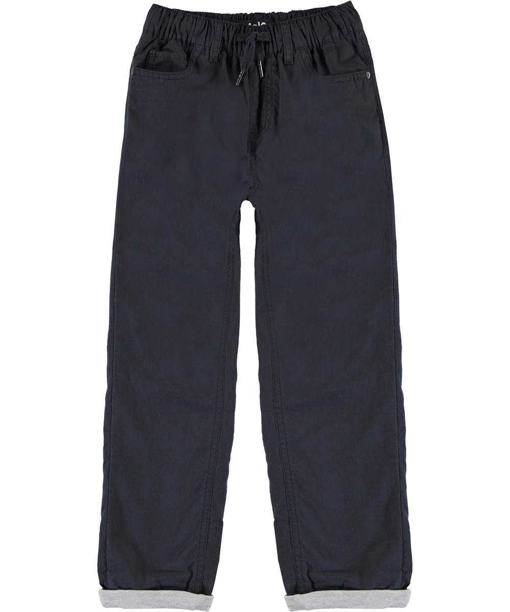 Abe - Dark Navy - Dark blue, loose cotton trousers