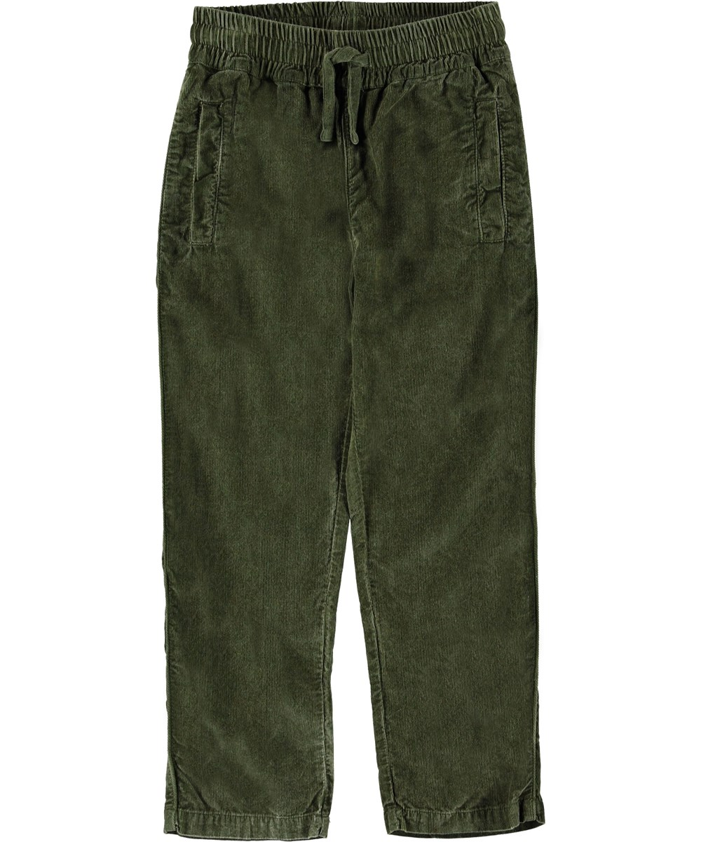 Adam - Bark - Green corduroy trousers.