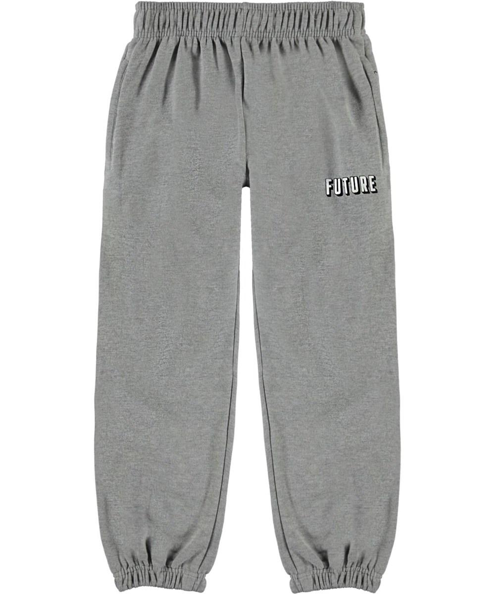 Adan - Grey Melange - Grey organic  sweatpants with a future print