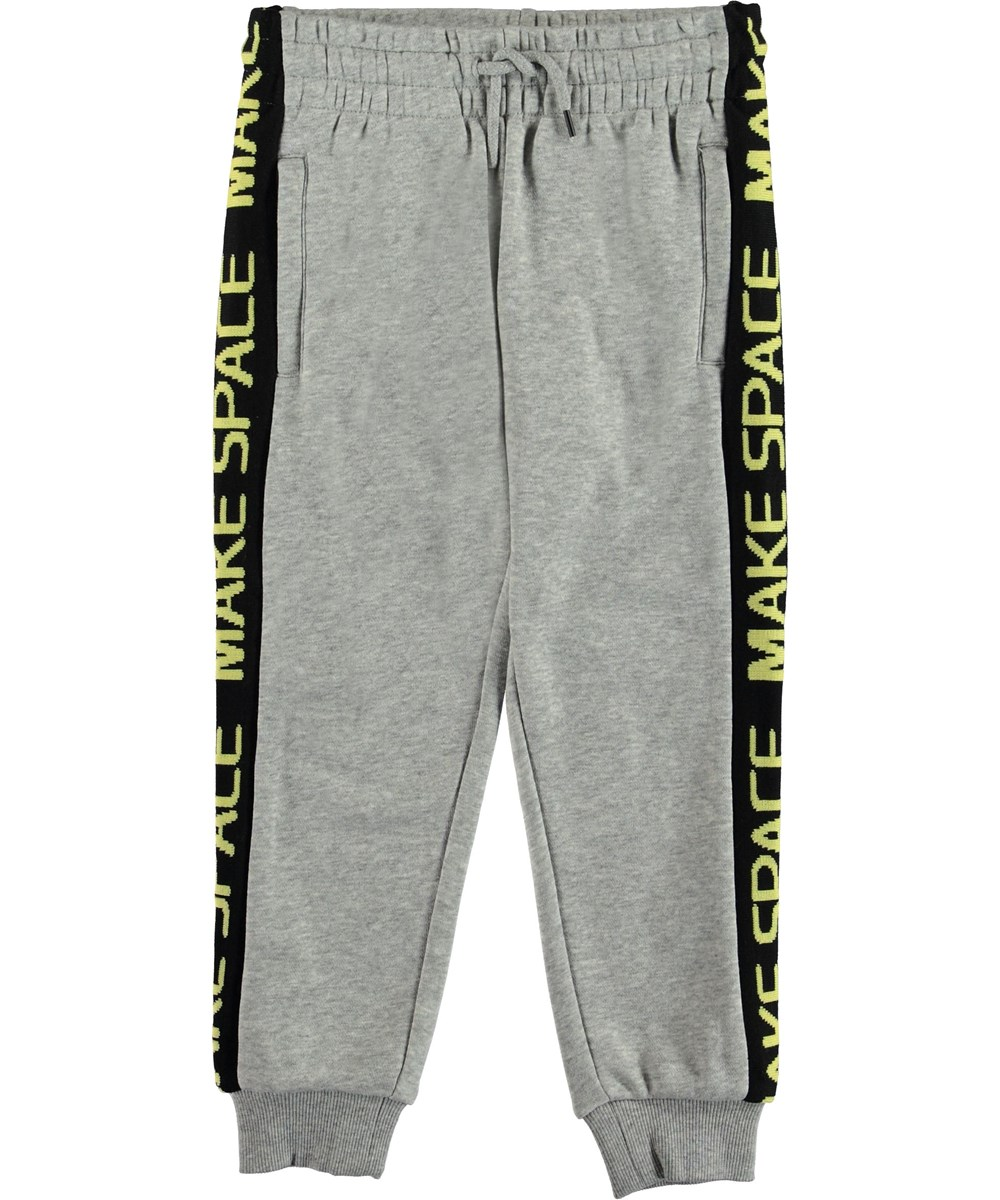 Aft - Grey Melange - Sweatpants grey sporty trousers.