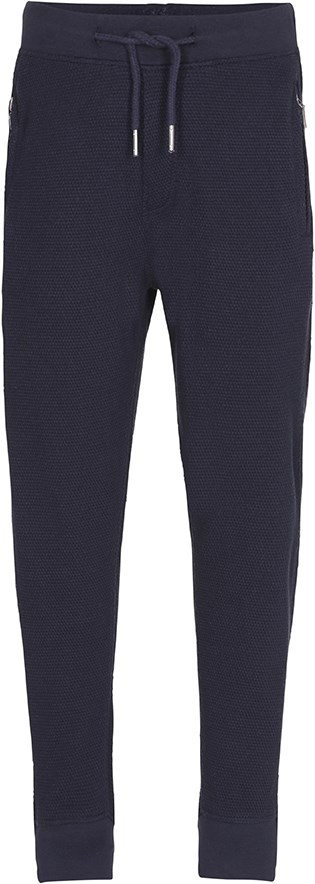 Aid - Dark Navy - Loose, dark blue, textured trousers
