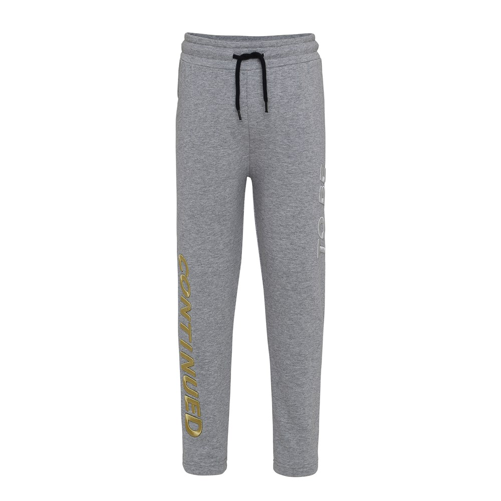 Aim - Grey Melange - Sweatpants with embroidered text.