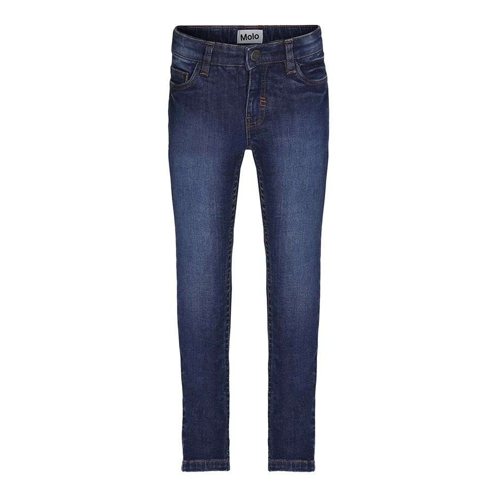 Aksel - Dark Indigo - Blue, distressed, slim fit denim jeans