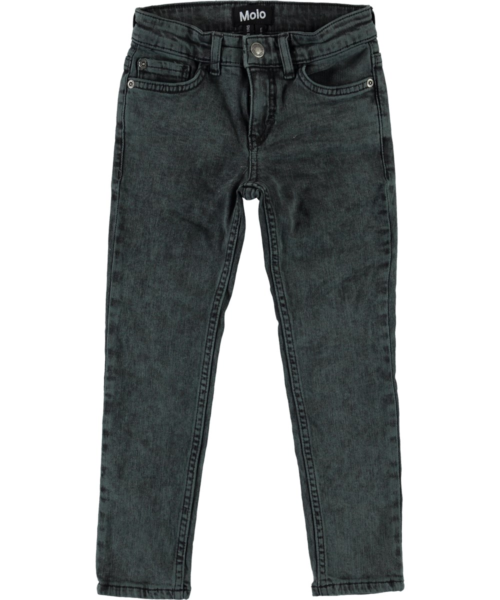 Aksel - Overdyed Green - Grey slim fit jeans.
