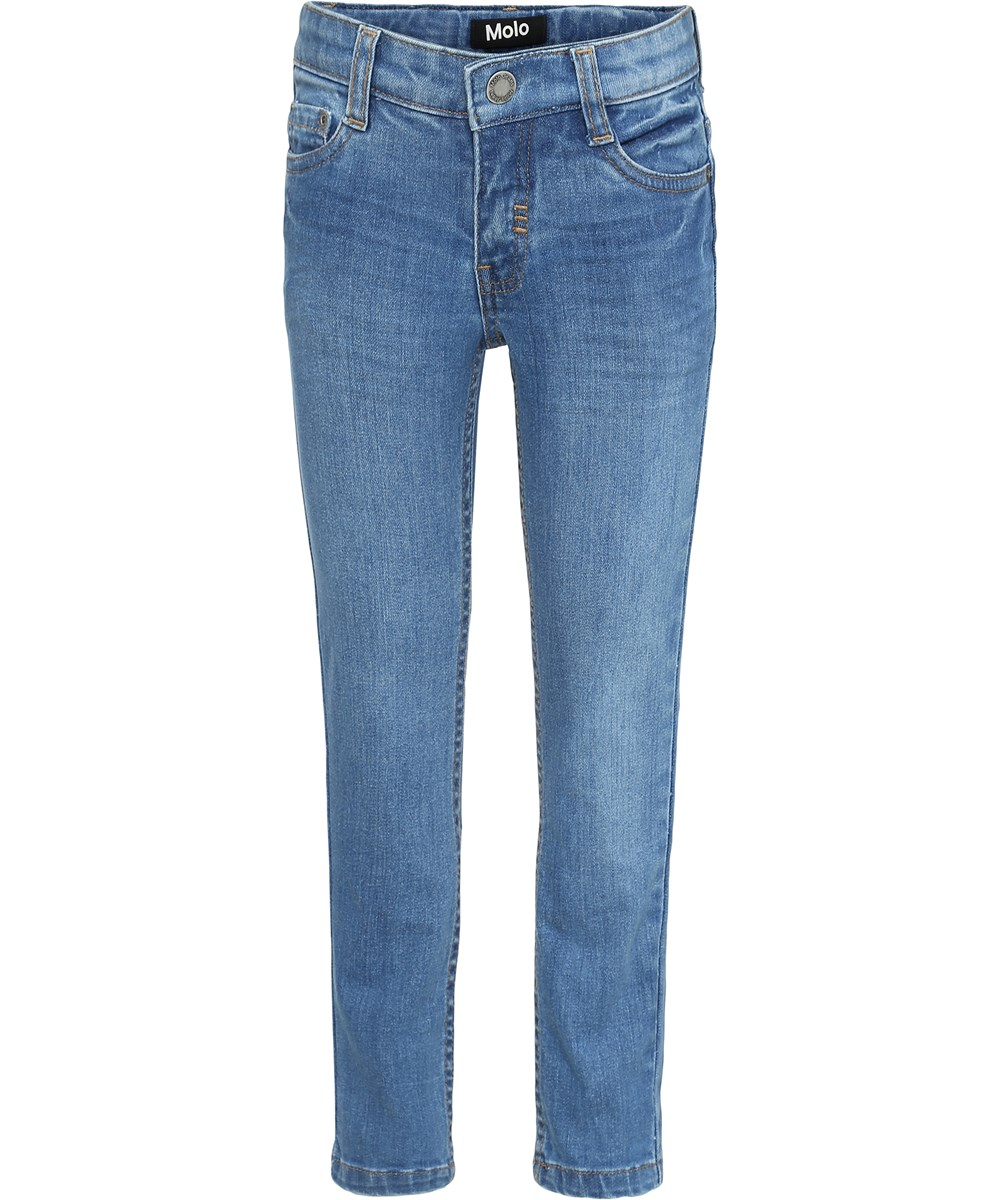 Aksel - Stone Blue - Blue slim denim jeans.