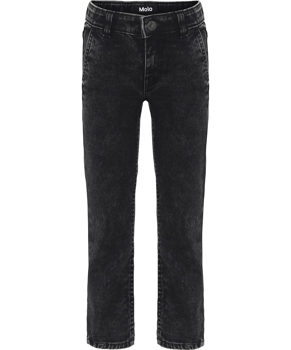 Aloni - Stone Washed Black - Black denim jeans with roll up.
