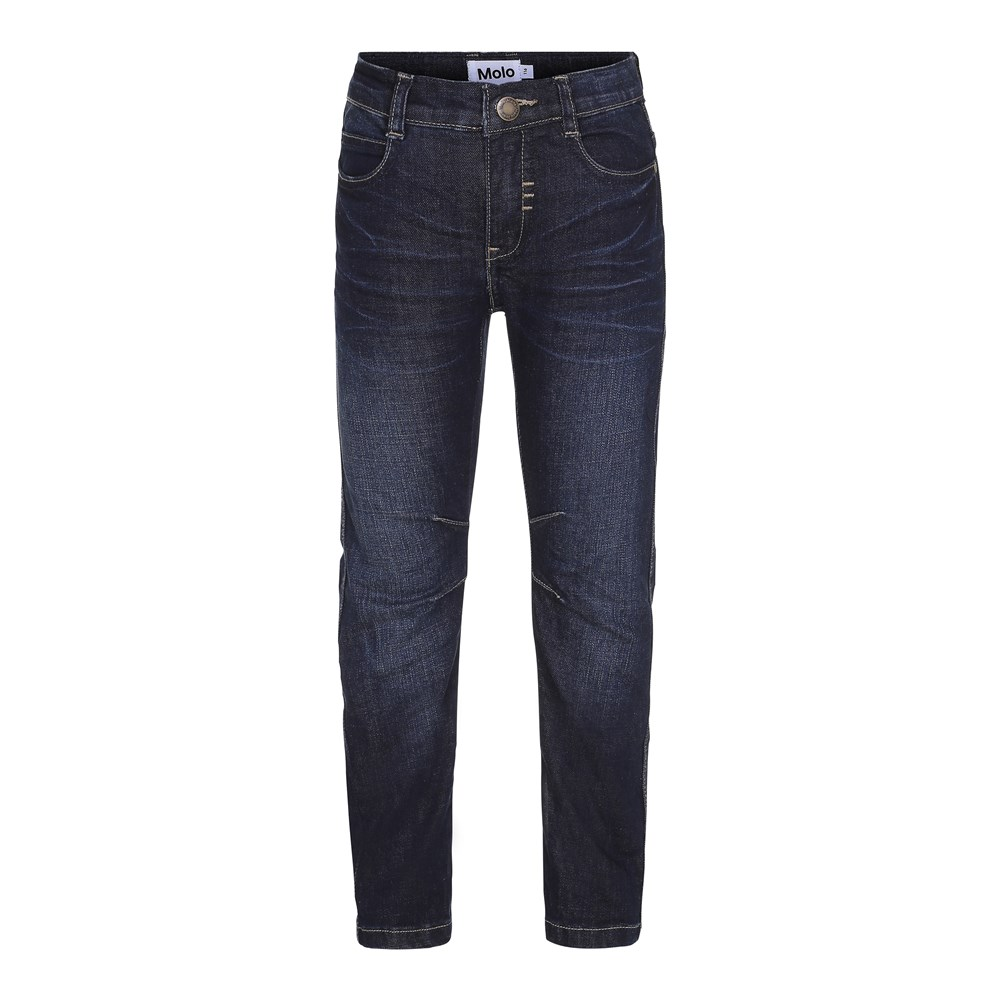 Alonso - Vintage Denim - Dark blue denim jeans in a biker look