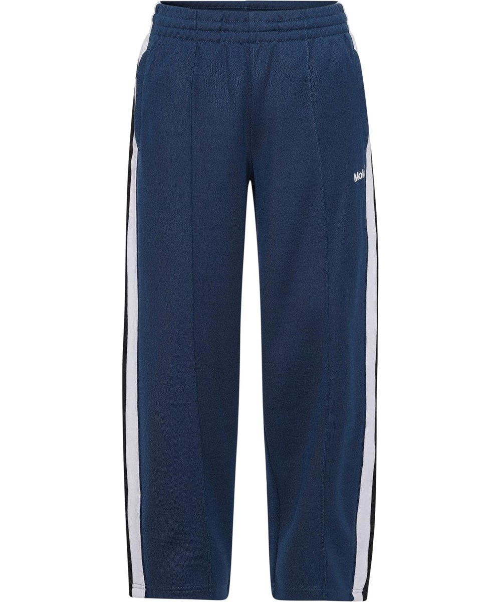 Altos - Sea - Blue sporty trousers with white and black stripes