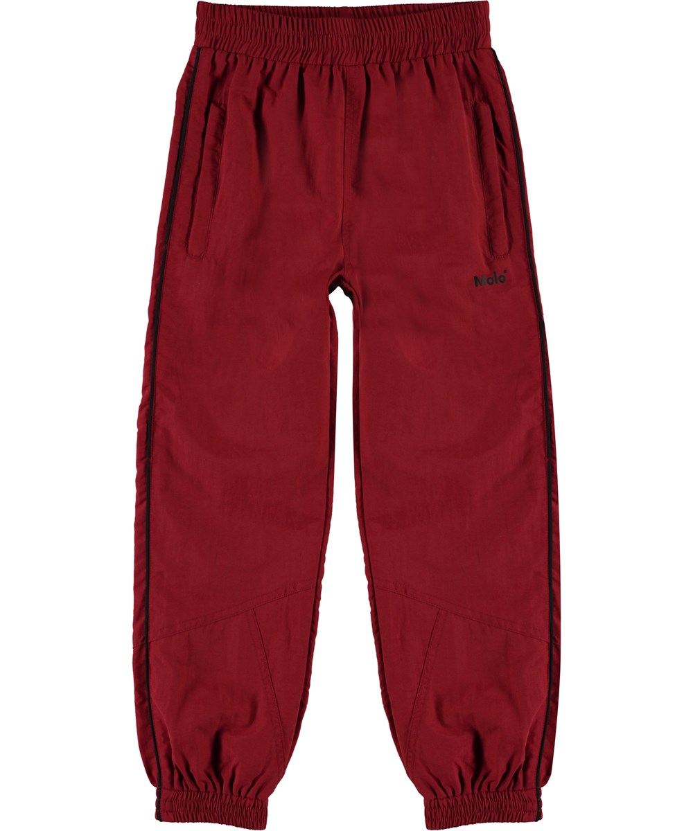 Anomi - Dark Red - Dark red track pants with stripe