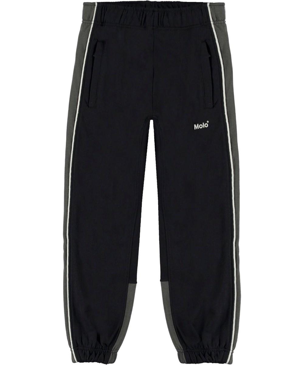 Anoua - Black - Black organic sweatpants with grey