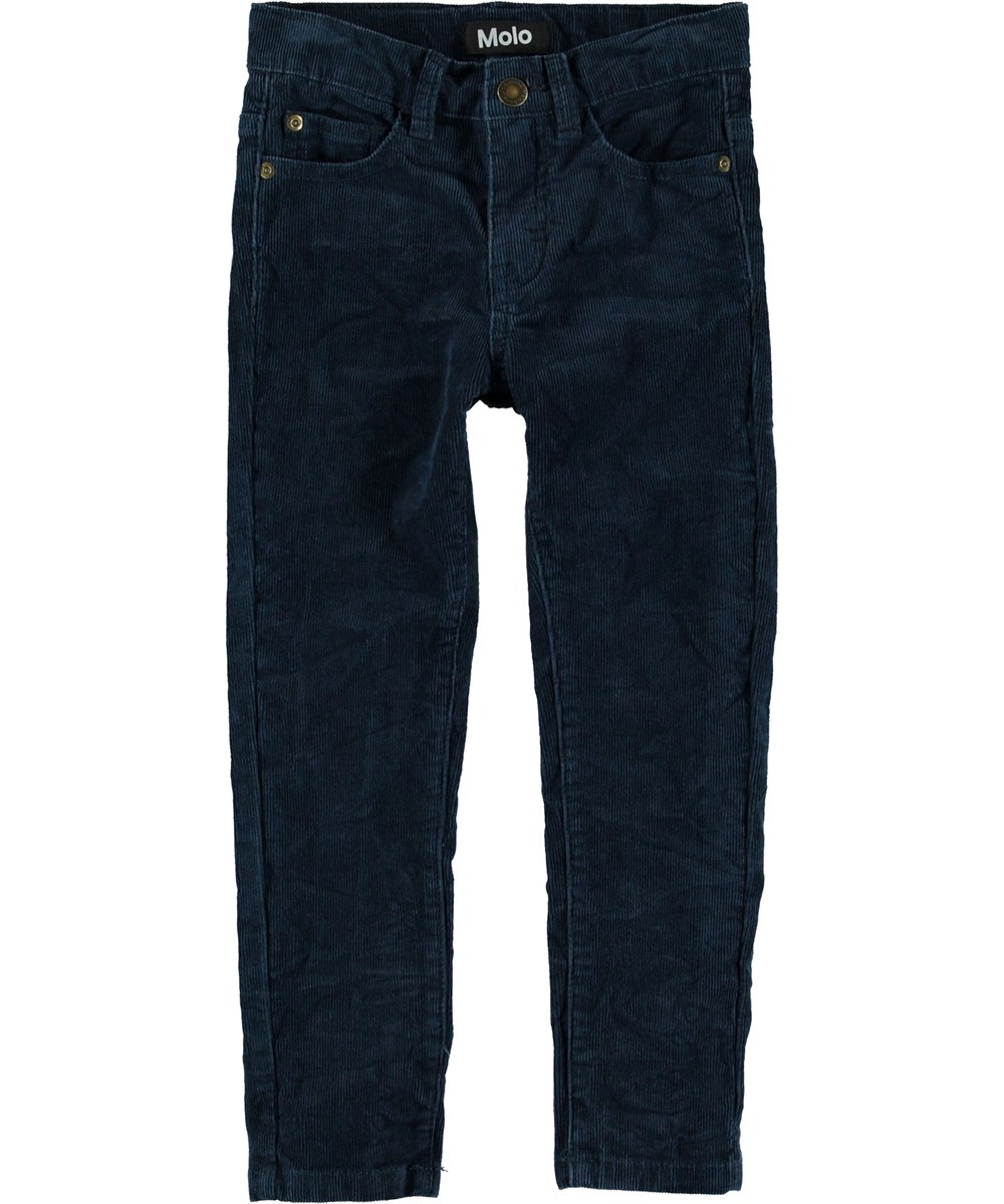 Anton - Infinity - Dark blue slim fit corduroy trousers.