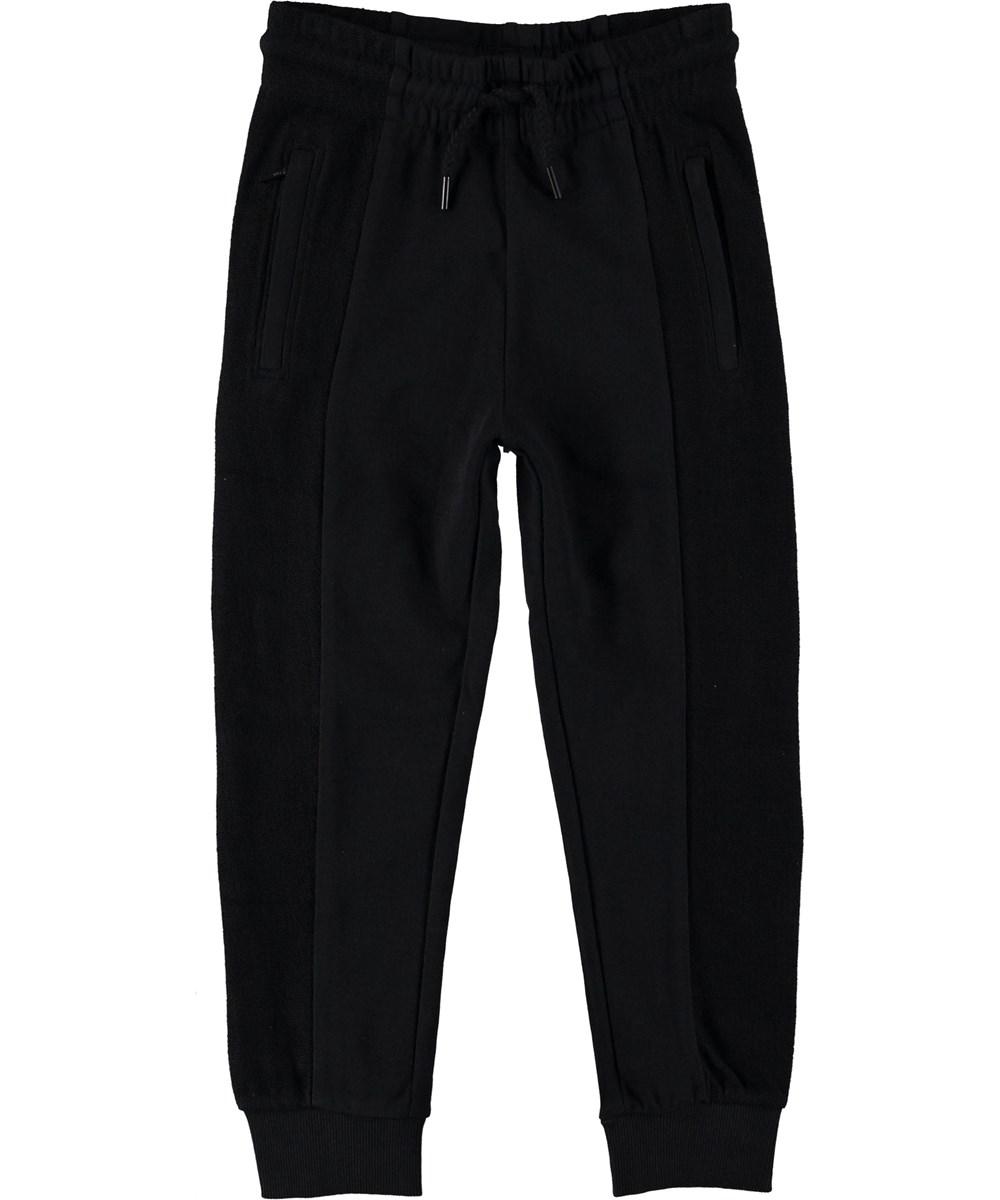 Aqu - Black - Sweatpants black sporty trousers.
