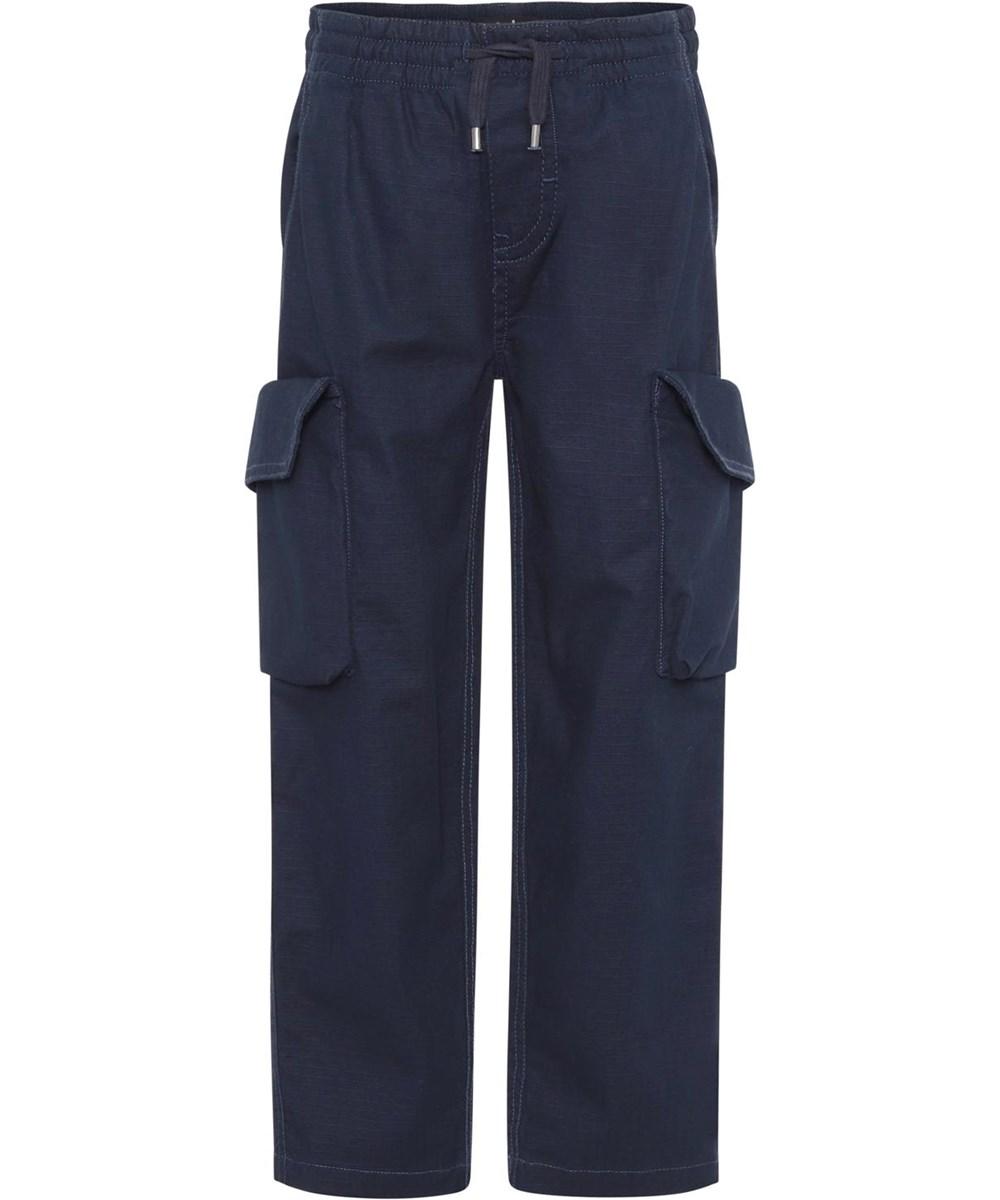 Argo - Dark Navy - Dark blue cargo trousers with large pockets