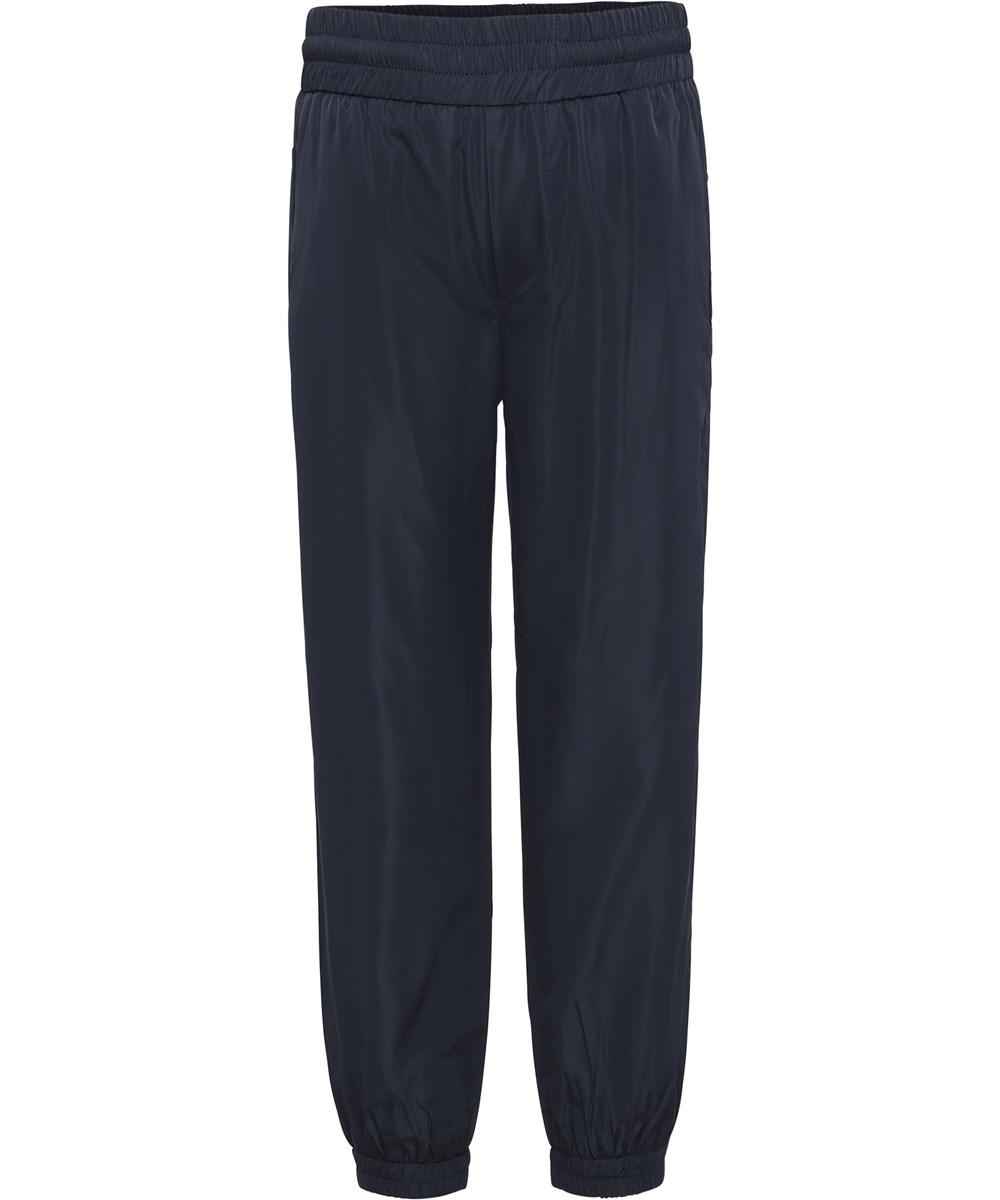Arne - Dark Navy - Dark blue shiny tracksuit trousers.