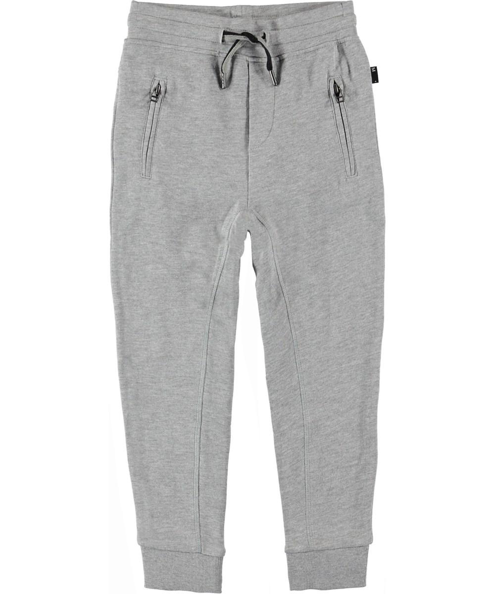 Ash - Grey Melange - Sweatpants grey sporty trousers.