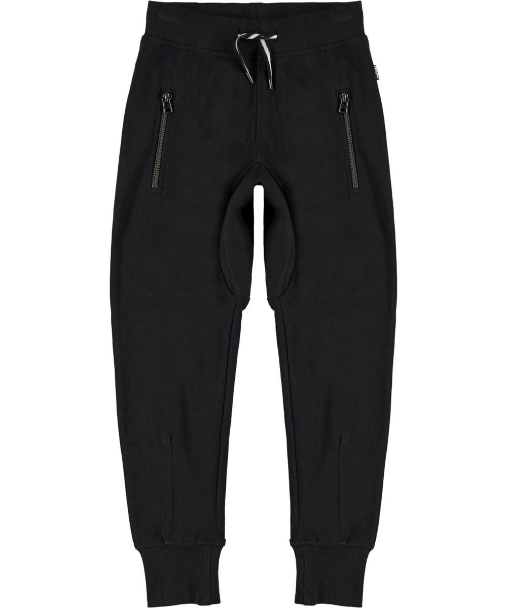 Ashton - Black - Loose, black organic sweatpants
