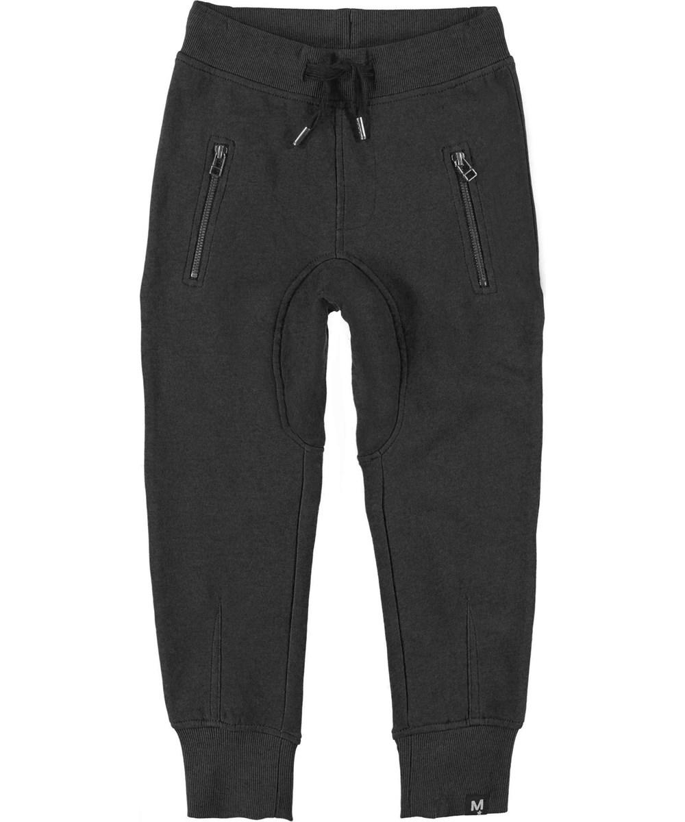 Ashton - Black - Sweatpants black sporty trousers.