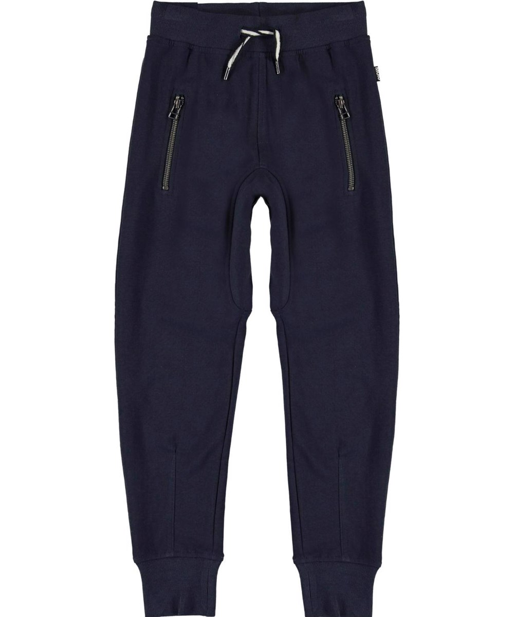 Ashton - Dark Navy - Loose, dark blue organic sweatpants