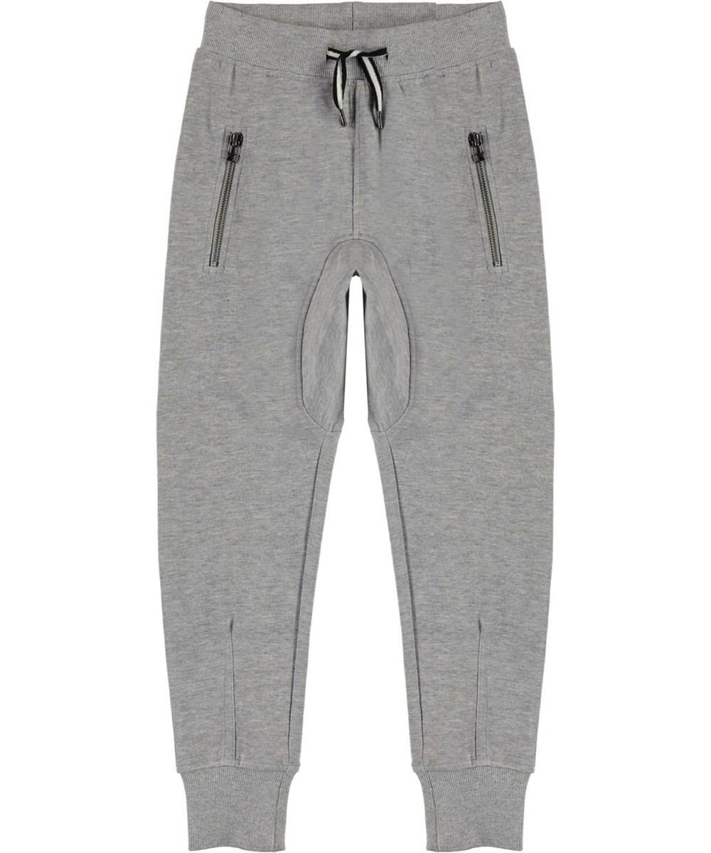 Ashton - Grey Melange - Loose, grey organic sweatpants