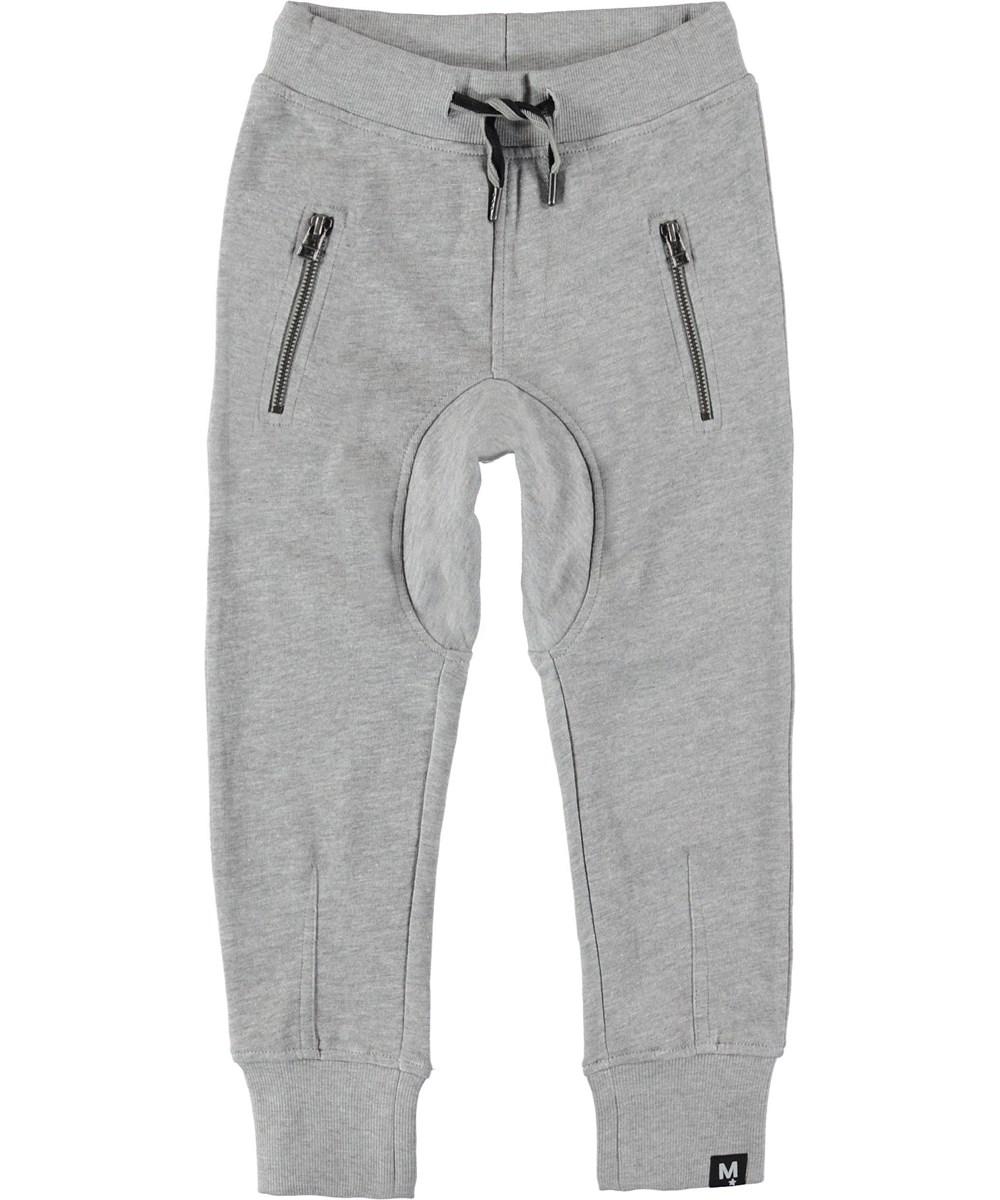 Ashton - Grey Melange - Sweatpants grey sporty trousers.