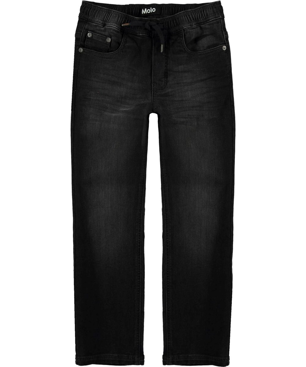 Augustino - Washed Black - Black, loose fit jeans with ties