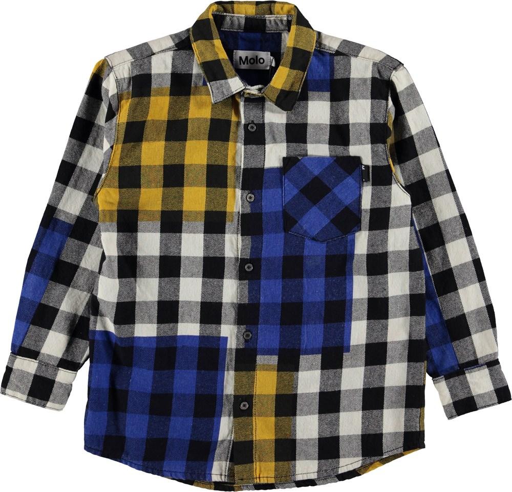 Raft - Checks - Plaid shirt with blue and yellow.