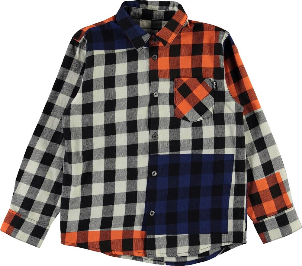 Raft - Checks - Orange and blue plaid shirt