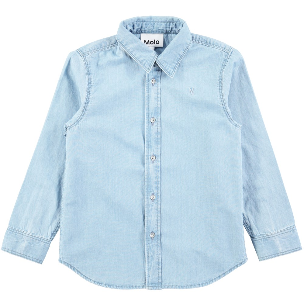 Rio - Dusty Blue - Light blue shirt with buttons