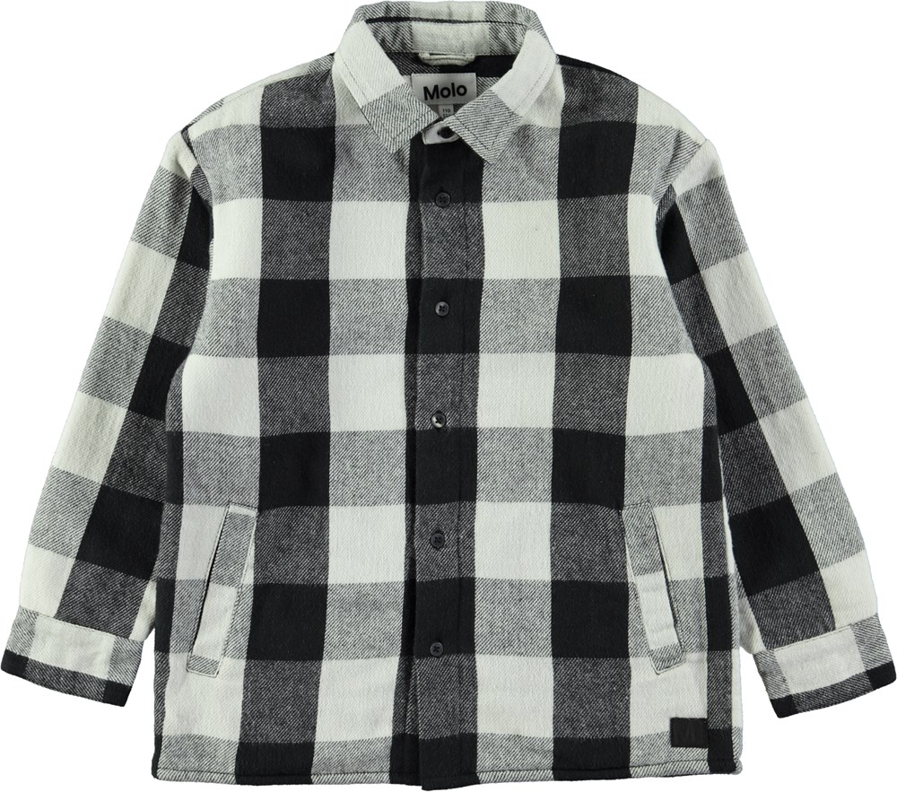 Romney - Dirty White Check - Black and white plaid shirt with fleece lining