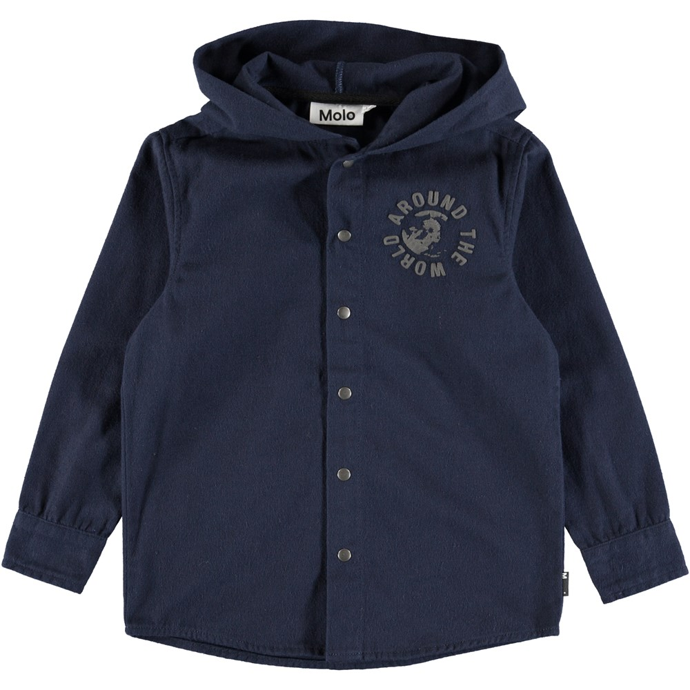 Russ - Dark Navy - Dark blue shirt with hood and buttons