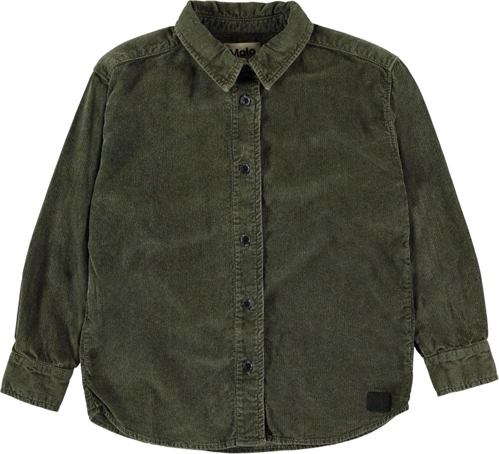 Russy - Bark - Green corduroy shirt.
