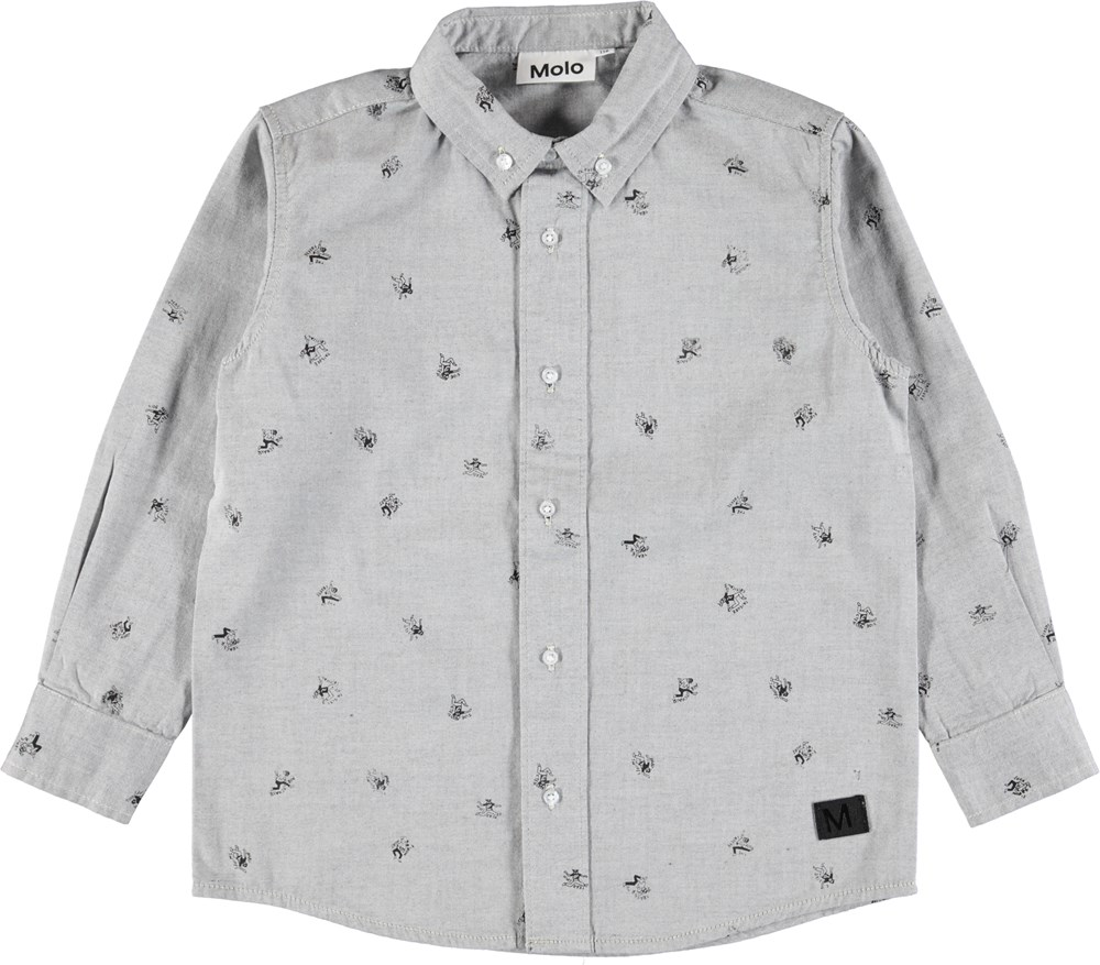 Russy - Black - Grey shirt with small, hand drawn illustrations