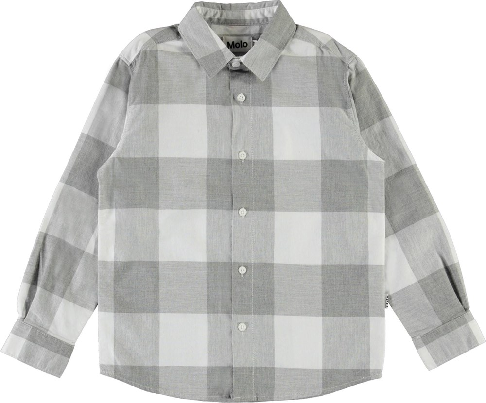Russy - Grey Check - Grey and white plaid shirt