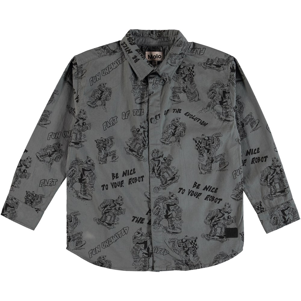 Russy - Pewter - Shirt with a robot print and text.