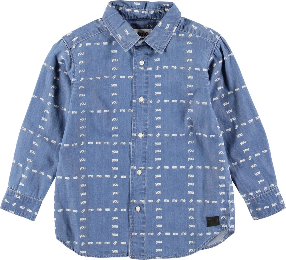 Russy - US! Blue - Blue denim shirt with words.