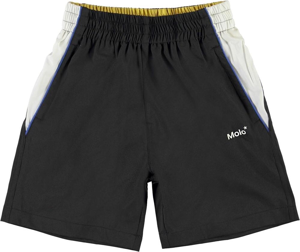 Acelo - Black - Black and white sports shorts