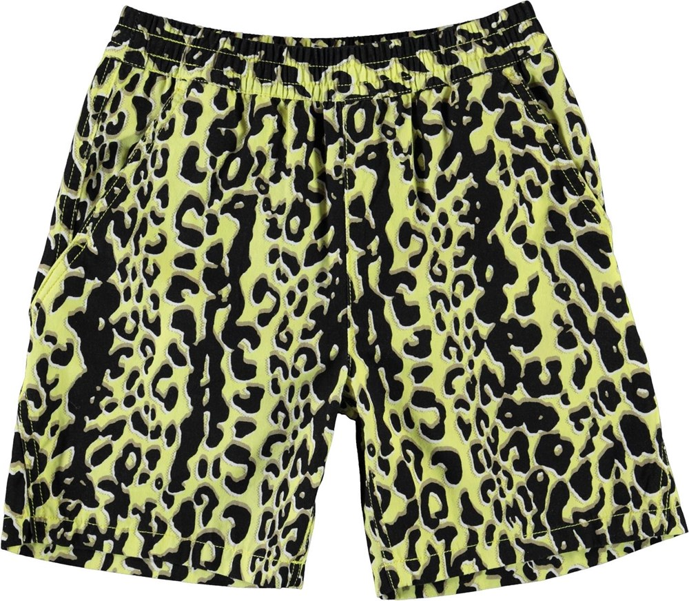 Acton - Shadow Leopard - Yellow shorts with leopard print